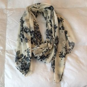 Accessories - Blue and Cream Floral Scarf from France